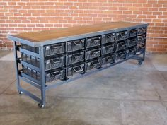 Recycling has reached a new level with Cleveland Art's furniture line of industrial style storage units and tables.