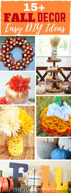 These 10 easy Fall decor DIY ideas are THE BEST! I'm so happy I found these GREAT dollar store Fall DIY décor. Now I have some Fall decor ideas to try this Fall season! I have Halloween cookies, pumpkin recipes, brownie recipes, chocolate chip cookies, and so many more. Truly, Fall or Thanksgiving DIY decor at their best. Definitely pinning!