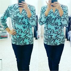 💲15✂Talbots Paisley Light Blue Blouse🎉HP🎉 PRICE IS FIRM!! (See💲on TITLE) This is the lowest I can do!! Trying to DOWNSIZE Make me an offer, it's YOURS! ➖➖➖➖➖➖➖➖➖➖➖➖➖  ⏩Made of a superior 97% cotton, this blouse is so soft & comfortable ⏩With 3% spandex, it provides enough stretch to form a beautiful, body-grazing silhouette ⏩A versatile blouse that goes from office, to evening, to weekend with ease ⏩3/4 sleeves, V-neck, stretch ⏩In great condition, only worn 2 times Talbots Tops Blouses