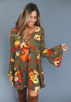 Olive/Red Floral Tie Front Dress - Dottie Couture Boutique