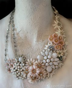 white/ivory vintage jewelry assemblage