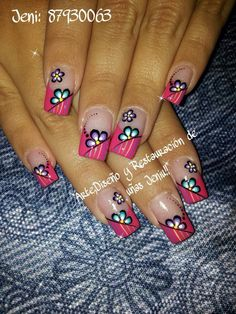 Uñas decoracion heiluz Funky Nail Art, Funky Nails, Crazy Nails, Acrylic Nail Art, Acrylic Nail Designs, Nail Art Designs, Fabulous Nails, Gorgeous Nails, Pretty Nails