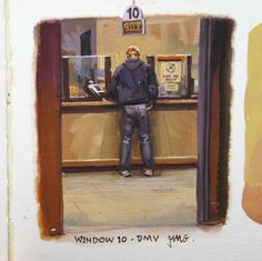 James Gurney, Window DMV, gouache, x inches. Amazing Sketches, Cool Sketches, Pencil Drawings, Art Drawings, John William Waterhouse, Poster Colour, Tempera, Gouache Painting, Art Sketchbook