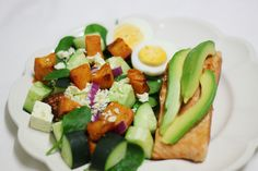 Last night's dinner:  Fresh salmon with avocado & roasted sweet potato, baby spinach and feta cheese salad
