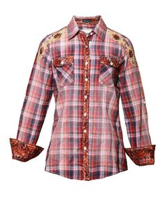 Take a look at this Red & Navy Plaid KODA Button-Up - Women by Roar Clothing on #zulily today!