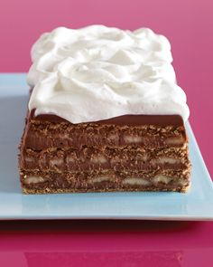 How about graham crackers? Here they star in a molded icebox cake with bananas and a chocolaty pudding-like filling. We bet you can't have just one slice!