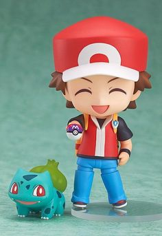 Nendoroid Red with one of the Pokémon (Bulbasaur, Charmander or Squirtle)