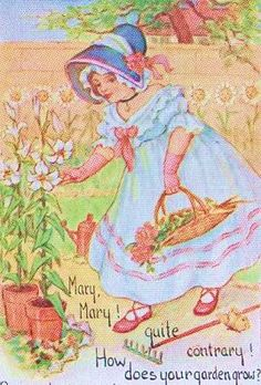 Items similar to Mary Mary Quite Contrary Garden Gardening Nursery Rhyme postcard on Etsy Vintage Children's Books, Vintage Postcards, Vintage Cards, Antique Books, Old Nursery Rhymes, Vintage Illustration Art, Japanese Drawings, Storybook Cottage, Rhymes For Kids