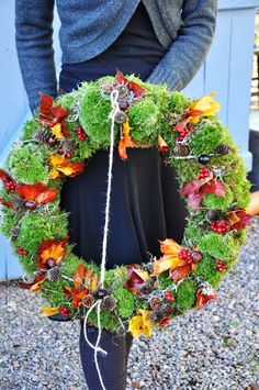Lilies and TULIPS: End of today! bright mossy fall wreath