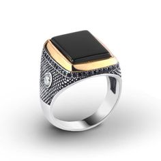 925K Sterling Silver Gemstone Man Ring With Natural Black Onyx Size 8-9-10-11 US #IstanbulJewellery #Statement
