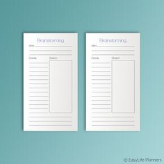"Find a conclusion for your problem by writing down a list of ideas in this Brainstorming Personal Size sheet. These printable inserts are 3.7""x6.7"" and will fit any personal sized planner (Filofax, Kikki-K (medium), Kate Spade, Color Crush Planner).  ✽ DISCOUNTS  💝 15% off your order of $10: 15DISCOUNT  💝 20% off your order of $20: 20DISCOUNT  💝 25% off your order of $30 or more: 25DISCOUNT   ✽ INSTANT DOWNLOAD:   The documents will be available for download within a few minutes of…"