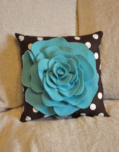 Turquoise Rose on Brown with White Polka Dot Pillow by bedbuggs, $28.00
