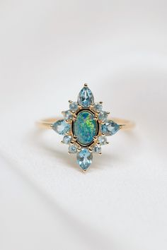Antique Deco Opal and Topaz Cluster Ring - Praise - featured_thumb - Cluster Ring, Antique Rings, Vintage Rings, Vintage Style, Antique Jewelry, Lego, Topas, Illustration, Promise Rings