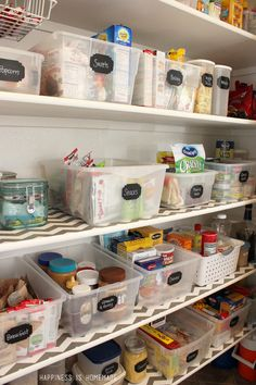Organized Pantry Bins with Chalkboard Labels