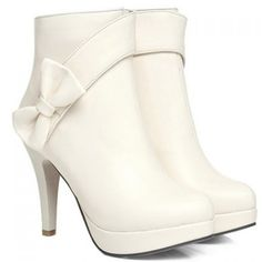 Cute Solid Color and Bowknot Design Women's Short Boots, OFF-WHITE, 38 in Boots | DressLily.com
