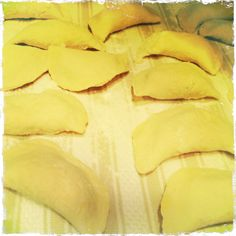 Pierogis aka polish dumplings. We make ours from my great-grandmother's recipe and fill them with farmer's cheese, potatoes and onions or sauerkraut.  Nothing like hearty country food to warm you up on a chilly or rainy night.
