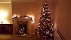 Christmas tree and garland in blush pink, cream and gold
