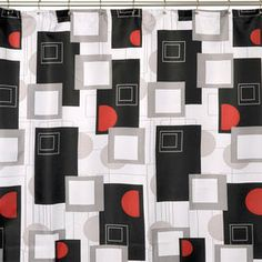 Give Your Bathroom Some Contemporary Pizazz With This Stylish Modern Shower Curtain Featuring A Striking Black Red And White Design