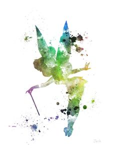 Tinker Bell Fairy, Peter Pan ART PRINT illustration, Disney, Mixed Media, Home Decor, Nursery, Kid