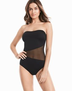 Black Mesh One-Piece Swimsuit