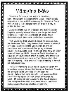FREE VAMPIRE BATS - Reading Comprehension Activity - #education Reading Comprehension Activities, Reading Groups, Reading Passages, Reading Lessons, Teaching Reading, Learning, Third Grade Science, Common Core Reading, Vampire Bat