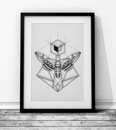 Moth - Wieprz Design Studio. #butterfly #moth #sketch #geometry #poster