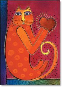 "Laurel Burch - ""A Happy Heart"" Laurel Burch, Fantasy Paintings, Cat Paintings, Cat Coloring Page, Cat Quilt, Cat Fabric, Cat Cards, Cat Colors, Cat Drawing"