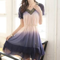 $16.64 Loose-Fitting V-Neck Beaded Gradient Color Ruffled Sleeve Casual Dress For Women