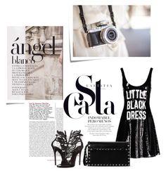 LITTLE BLACK DRESS by una21una on Polyvore featuring moda, Moschino, Giuseppe Zanotti, Valentino and Post-It