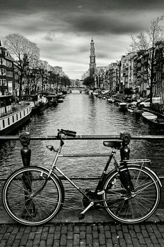 The bicycle is the main form of transportation in Amsterdam, no matter what language you speak. The streets are better fitted for this contraption than cars, and it is a big part of the culture in Amsterdam. Black And White Photo Wall, Black And White Pictures, Black And White Photography, Black And White City, Black And White Background, Monochrome Photography, Photo Black, Fotografie Portraits, Black And White Aesthetic