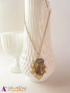 Vintage necklace, steampunk, steampunk necklace, cat, gold cat, cat necklace…