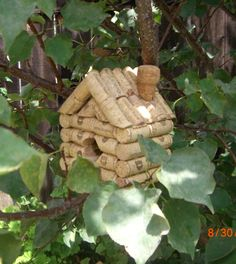 """Wine Cork Birdhouse (and more) ~ I think I may need to learn to """"whittle""""."""