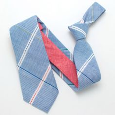 1950s Western Ribbon Plaid & Cardinal Slub Necktie - vintage ties handmade in the United States