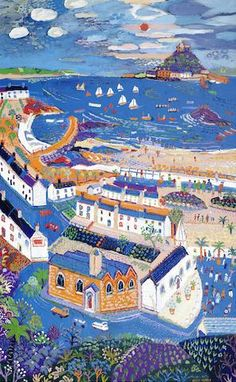 Bonhams Fine Art Auctioneers & Valuers: auctioneers of art, pictures, collectables and motor cars St Michael's Mount, Primitive Painting, West Cornwall, St Ives, Naive Art, Travel Maps, Watercolours, Vintage Travel, Acrylics