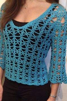 Ravelry: kristinlynn's Roomy Bell-Sleeve Pull-over, free pattern, #crochet, #haken, gratis patroon (Engels), zomer, truitje, top met mouwen