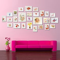 17Pcs en Bois Effet Bois Multi Image Cadres Photo Wall Hang cadres Collage Set