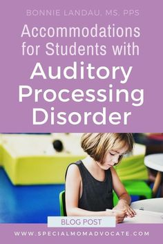 Accommodations for Students with Auditory Processing Disorder. Help for school, home and social interactions. These accommodations provide a different way to support children and adults with auditory processing disorder (APD). Auditory Processing Activities, Auditory Processing Disorder, Auditory Learning, Speech Language Pathology, Speech And Language, Accommodation For Students, Special Needs Mom, Counseling Activities, Motor Activities