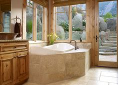 Gamble Residence - traditional - bathroom - denver - by MQ Architecture & Design, LLC Bathroom Layout, Modern Bathroom Design, Small Bathroom, Bathroom Ideas, Nature Bathroom, Bathroom Pics, Stone Bathroom, Bathroom Cabinets, Bathroom Vanities