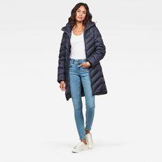 Whistler Slim Down Coat | Dark blue | G-Star RAW® Whistler, G Star Raw, Long Puffer Coat, Chevron Quilt, Down Coat, How To Slim Down, Slim Fit, Coats For Women, Mantel