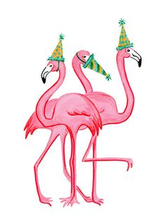 Birthday Greeting card, Pink Flamingo - Rosie, Rosalie, Rosaline. $5.00, via Etsy.