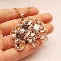 Crystal Elephant Fashion Necklace | LilyFair Jewelry  Literally the cutest thing ever!