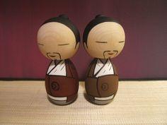 Kokeshi doll. Taoist  (choose maroon or brown robe). $30.00, via Etsy.