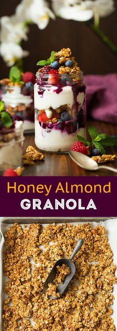 Honey Almond Granola - perfectly sweet and clustered granola! A go-to granola recipe!