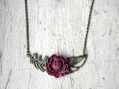 vintage inspired feather and rose necklace $23