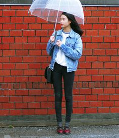 .shirt + oversized denim jacket + grey socks + Oxford shoes : tomboy style, airport wear