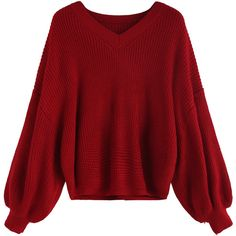 SheIn(sheinside) Red V Neck Dip Hem Seam Sweater ($23) ❤ liked on Polyvore featuring tops, sweaters, red top, long sleeve pullover sweater, red sweater, acrylic sweater and sweater pullover