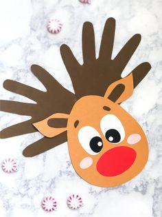A Handprint Reindeer Craft Kids Of All Ages Will Love Handprint Christmas Craft Christmas Activities For Kids, Winter Crafts For Kids, Preschool Christmas, Craft Projects For Kids, Preschool Crafts, Kids Christmas, Craft Kids, Christmas Handprint Crafts, Reindeer Handprint