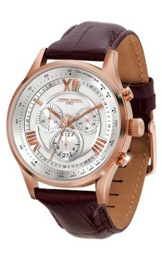 Jorg Gray JG6600-23 Men's Watch Chronograph Silver/Rose Gold with Brown Leather