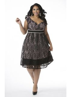 Plus Size Lace Dress in Black with Pink Lining at Curvalicious Clothes <3 www.curvaliciousclothes.com Save 15% CODE: SVE15