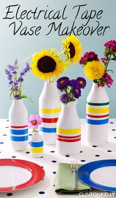 Electrical tape (so much cheaper than washi tape!) instantly transforms vases into nautical accents —and it's removable too!